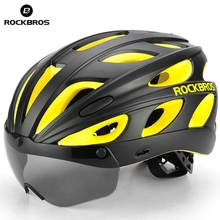 ROCKBROS Goggles Bicycle Helmets Integrally-molded Ultralight Magnetic MTB Mountain Road Cycling Bike With Sunglasses