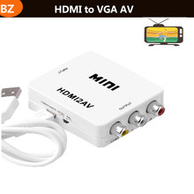 Mini HDMI to VGA to AV RCA Converter Composite Adapter with 3.5mm Audio cable VGA2AV / CVBS + Audio to PC HDTV 1080P Converter(China)