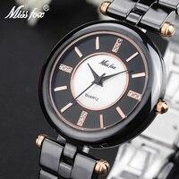 Miss Fox Elegant Ceramic Black Women's Watches Fashion Brand Rose Gold Analog Push Button Hidden Clasp Ladies Quartz Wrist Watch