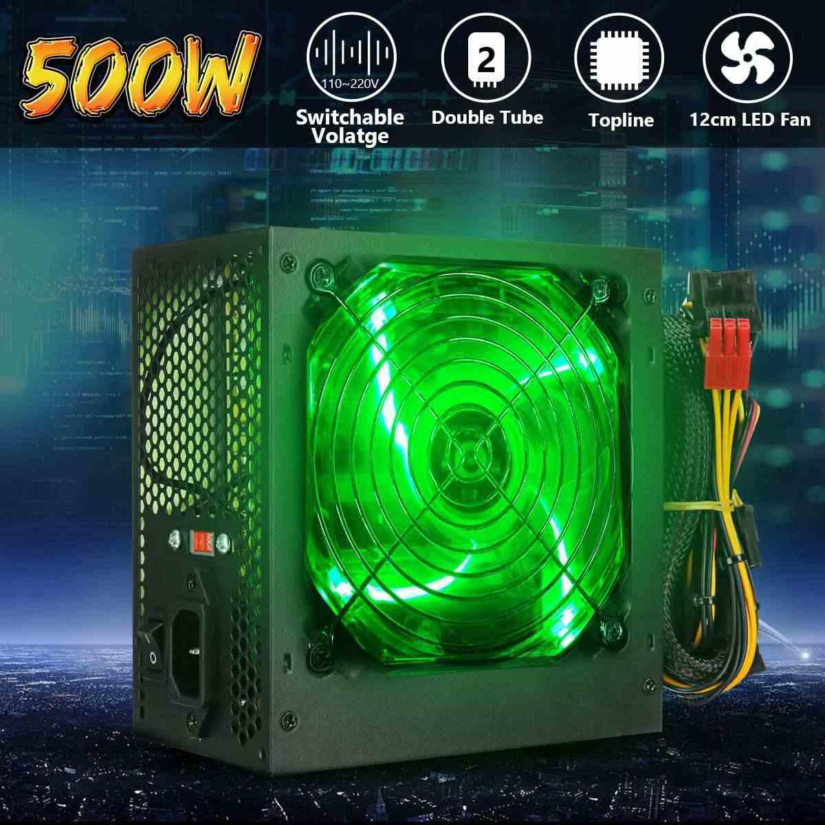 Максимальный 500 Вт источник питания 120 мм светодиодный вентилятор 24 Pin PCI SATA ATX 12 V PC компьютер блок питания для настольного игрового компьютера