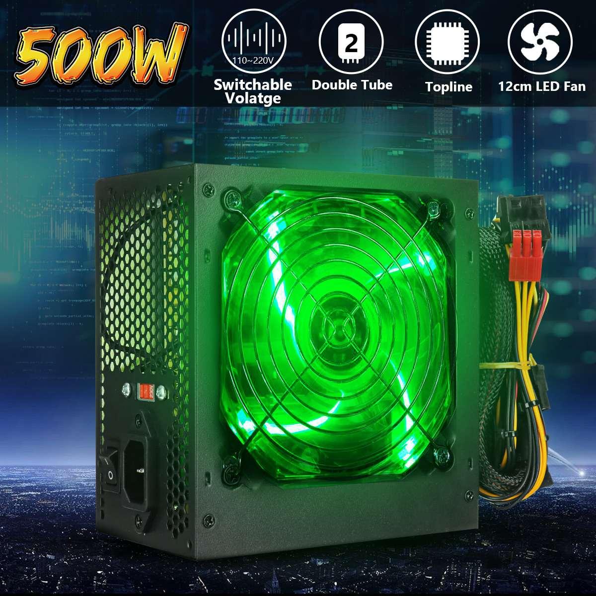 Max 500W Power Supply 120mm LED Fan 24 Pin PCI SATA ATX 12V PC Computer Power Supply For Desktop Gaming Computer