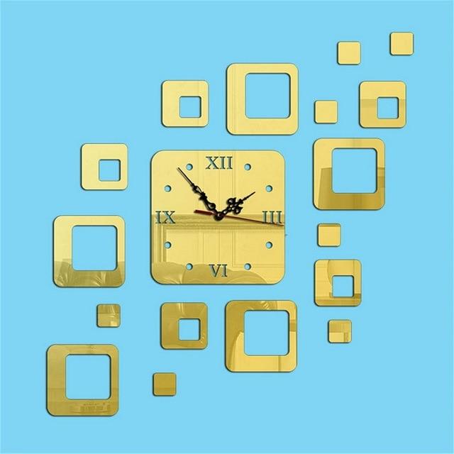Urijk 2018 DIY Geometric Decor Wall Clock Acylic Mirror Stickers 3D ...