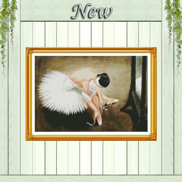 Танцующая балерина девушка Счетный напечатанный на холсте DMC 11CT 14CT наборы вышивки крестиком набор для шитья DIY вышитое домашнее украшение