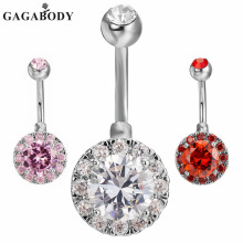 Фотография GAGABODY Clear Belly Button Ring with Cubic Zircon 14G Stainless Steel Navel Ring Body Jewlery Piercing For Woman Jewelry