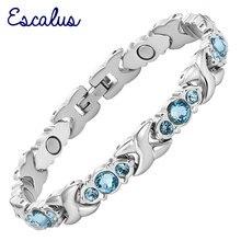Escalus 24 adet mavi kristal manyetik bilezik kadınlar için gümüş renk paslanmaz çelik bağlantı zinciri yeni bilezik takı hediye