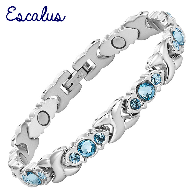 Escalus 2018 24pcs Blue Crystals Magnetic Bracelet For Women Silver Color Stainless Steel Link Chain New Bracelets Jewelry Gift