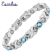 Escalus 24pcs Blue Crystals Magnetic Bracelet For Women Silver Color Stainless Steel Link Chain New Bracelets Jewelry Gift