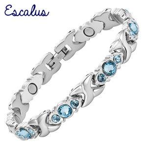 Image 1 - Escalus Bracelet magnétique pour femmes, cristaux bleus, chaînes à maillons, couleur argent, en acier inoxydable, nouvelle collection de bijoux, idée cadeau, 24 pièces