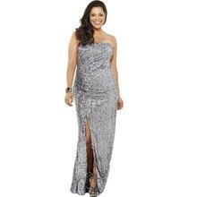 Seitenschlitz Plus Size Pailletten Frauen Formale Kleid Sleeveless Silber Pailletten Abendkleid für große größe Benutzerdefinierte Größe