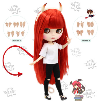 Blyth doll Combination Red Little Devil with matte face joint body,clothes,shoes,devil horn,hand set AB as gift 1/6 BJD