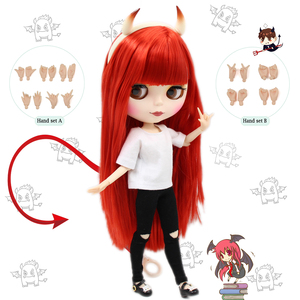 Blyth doll Combination Red Little Devil with matte face joint body,clothes,shoes,devil horn,hand set AB as gift 1/6 BJD(China)