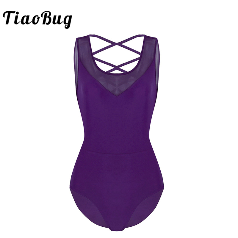 TiaoBug Women Sleeveless Mesh Splice Ballet Leotard Adult Gymnastics Leotard Bodysuit Professional Ballerina Costume Dance Wear