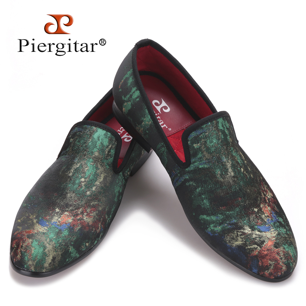 Piergitar New Mix Colors Graffiti Men Fabric Causal Shoes Men Plus Size Party Loafers Smoking Slippers Men's Flats Size 4-17 new fashion men striped cotton fabric shoes men plus size party and banquet loafers smoking slippers men s casual shoe us 4 17