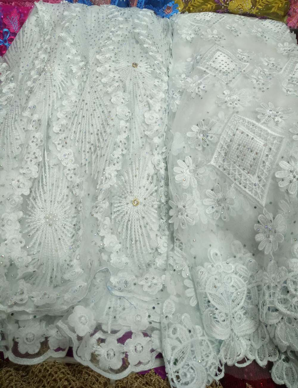 Women Fashion Clothes High Quality Wholesale Price Latest Net Dress Designs Tulle Lace Fabric white Color African Lace FabricWomen Fashion Clothes High Quality Wholesale Price Latest Net Dress Designs Tulle Lace Fabric white Color African Lace Fabric