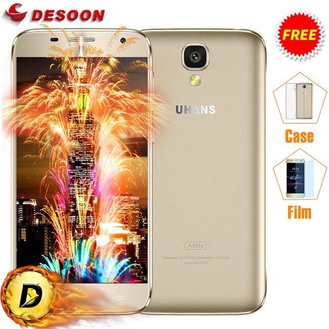 Caso + Vidrio) Original UHANS A101S A101 teléfono Móvil 4G + WCDMA LTE MTK6737/MTK6580 Quad A Core 2450 Mah 1 GB + 8 GB/2 GB + 16 GB smartphone