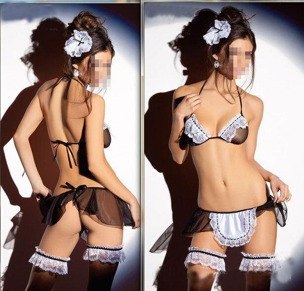 Sexy Hot Women Nightwear Black Lace Dress Lingerie Underwear G-string BabyDoll Sleepwear