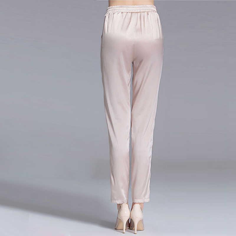 7c388c38e37 ... 92% Silk Pants Women Simple Design Solid Elastic Waist Pockets Harem  Trousers New Fashion Europe ...