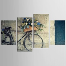 4 Pieces Canvas Painting Vintage Home Decor Print Retro Bike Canvas Oil Painting Wall Picture Living Room Wall Painting