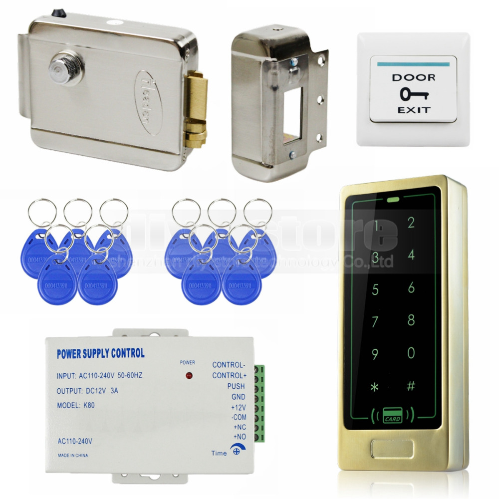 DIYSECUR 125KHz RFID Reader Password Keypad Door Access Control Security System Kit + Electric Lock 8000 Users diysecur electric lock waterproof 125khz rfid reader password keypad door access control security system door lock kit w4