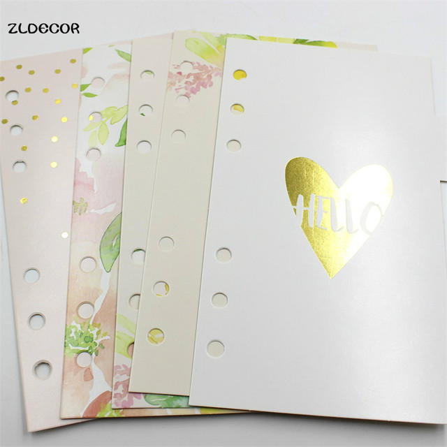 ZLDECOR 6 Holes A6 Loose Leaf Notebook Spiral Planner Refill Inner Paper Pages Hello Spring Planner Divider