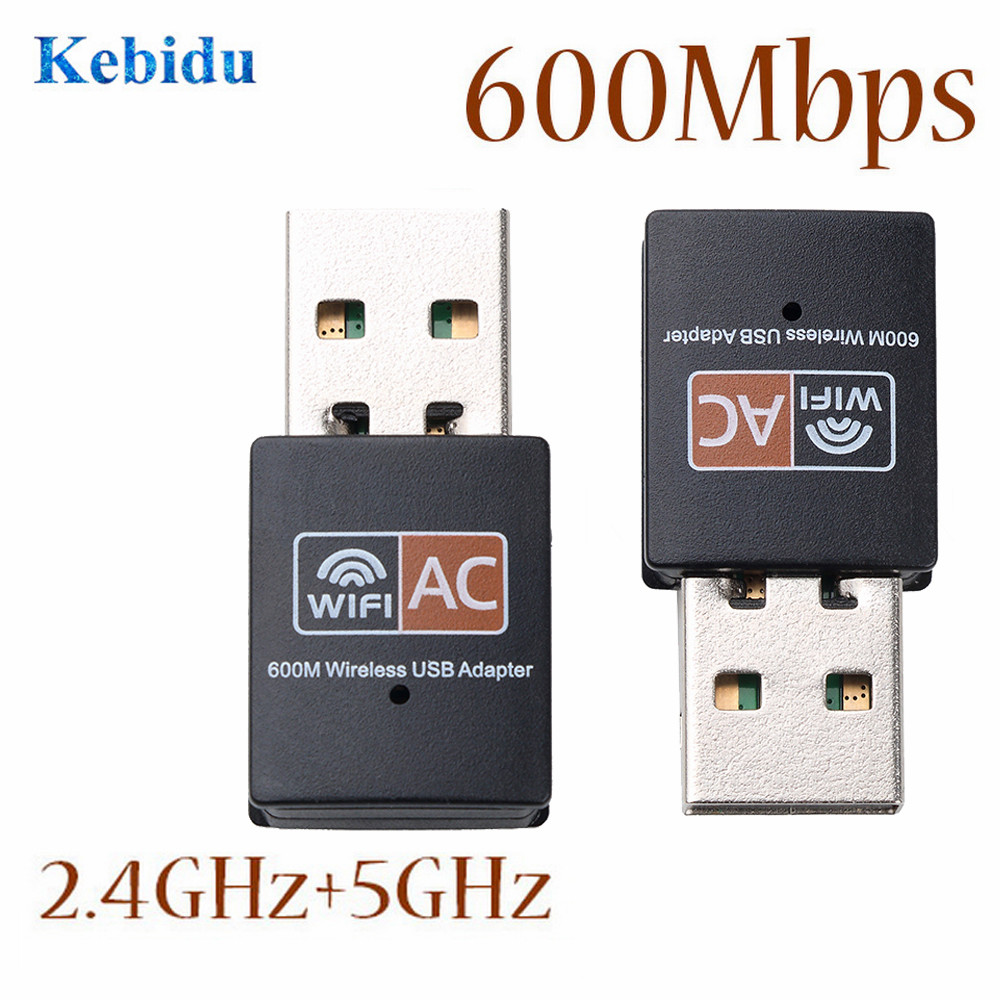 KEBIDU Wireless USB WiFi Adapter 600Mbps Wi Fi Antenna PC Network Card 2.4+5.8Ghz Dual Band Usb Lan Ethernet Receiver 802.11ac
