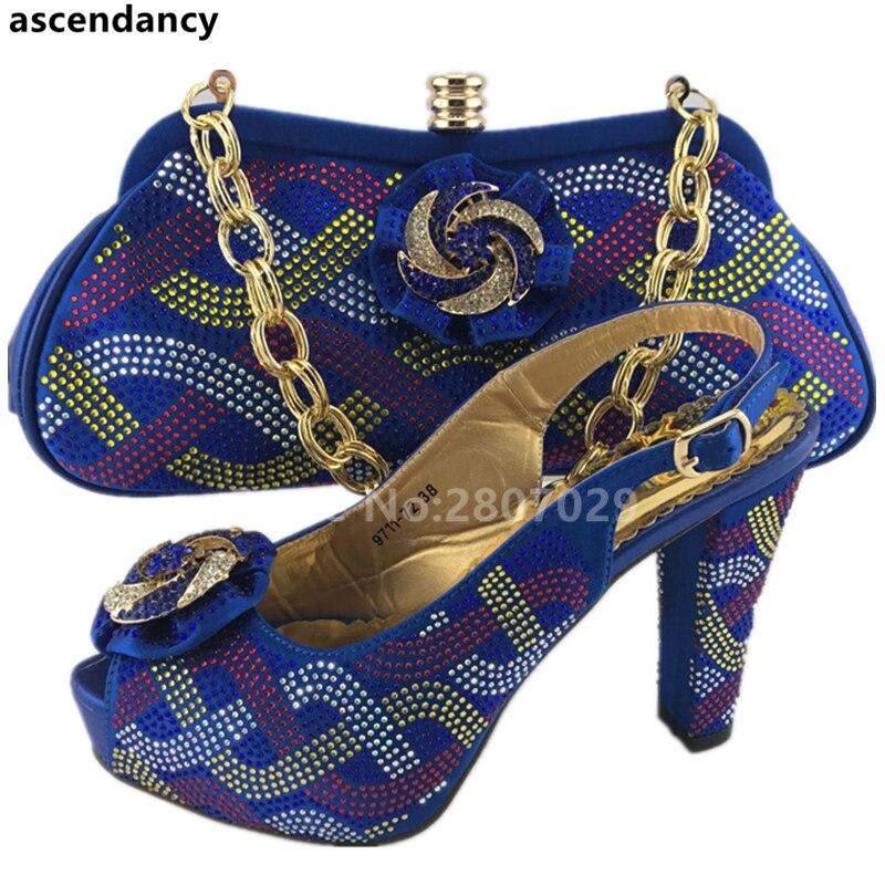Bleu Chaussures Ensembles Avec Africain orange vert Nigérian Femmes Sac En rouge Assorties Ventes Strass Et Decortaed Ensemble OwpnOrxqB1