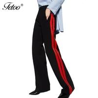 Fetoo Nuevo 2017 Lado A Rayas Pantalones de Las Mujeres de Cintura Alta Mujeres Pantalones Ocasionales Flojos Pantalones de Algodón de Las Señoras Pantalones Pantalon Femme Negro
