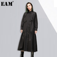 EAM 2018 New Spring Lapel Long Sleeve Solid Color Black Loose Fold Split Joint Loose