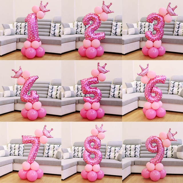 1 set Blue Pink Foil Number Balloon Thicken Latex Air Ballons with Crown Anniversary Baby Shower Kids Birthday Party Decoration