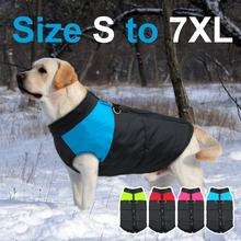Ubrania na duże psy wodoodporna kamizelka dla psa kurtka zimowe nylonowe psy ubrania dla psów Chihuahua Labrador Blue Pink tanie tanio Beirui CN (pochodzenie) Poliester Jesień zima Stałe S-7XL Small to Large Dogs Blue Pink Green Red Waterproof