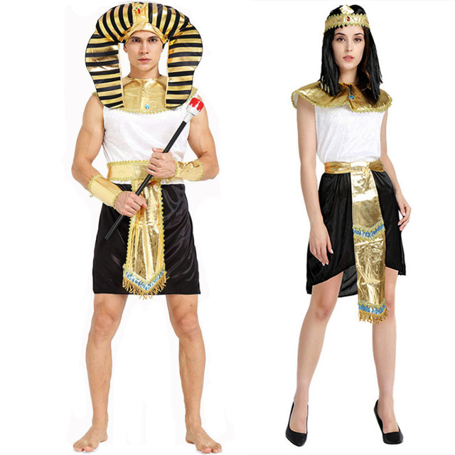 Halloween Couples Costumes Egyptian Pharaoh Cleopatra Cosplay Stage Performance Dress