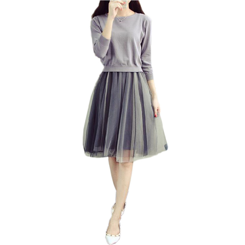 2018 Women Autumn College Wind knit sweater dress two-piece dress female long paragraph gauze tutu grey fashion casual dresses