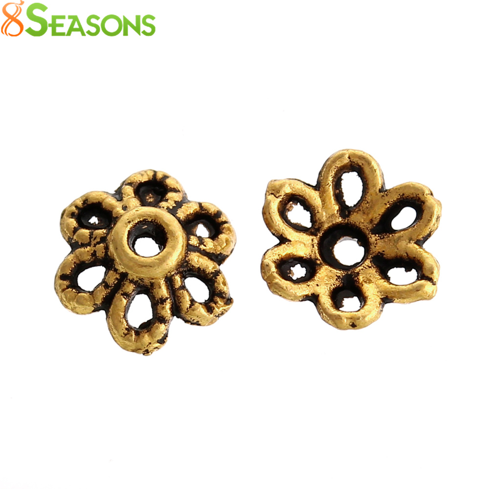 8SEASONS Bead Caps Round golden tone(Fits 12mm Beads) Hollow 6mm x 2mm,Hole:Approx 0.7mm,1000PCs (B34715)