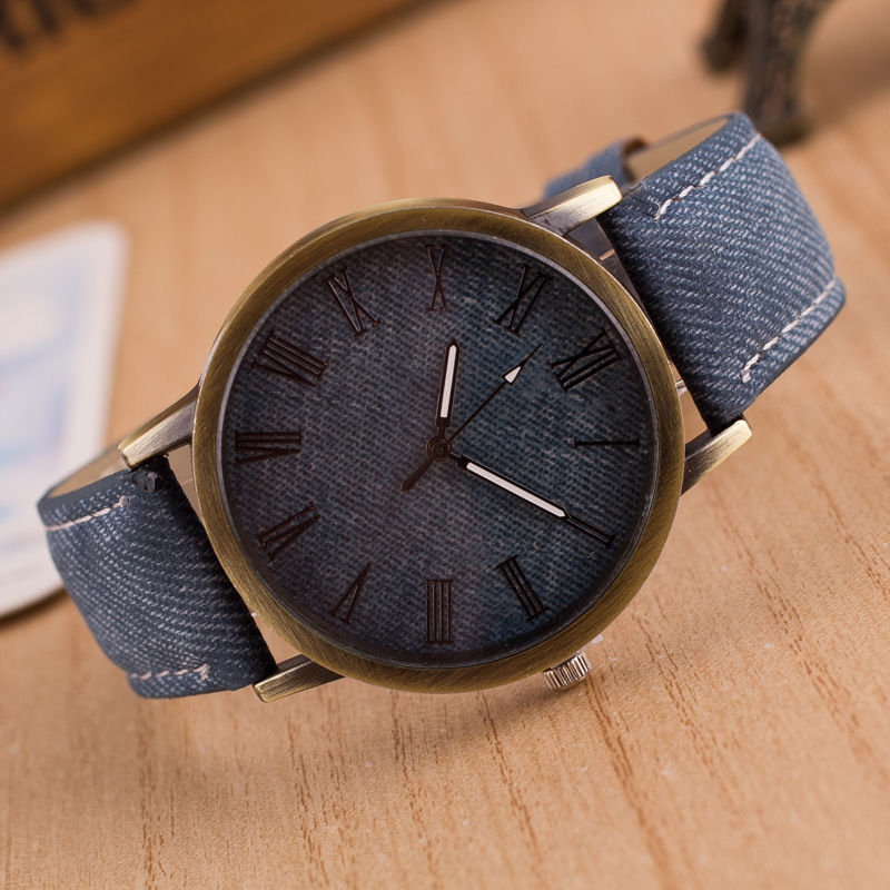 1PCS New Luxury Men Women Fashion Retro Design Leather Analog Classic Casual Round Cowboy Vintage Quartz Wrist Watch camelion sg 126
