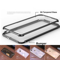 Luphie Aluminum Case Metal Frame 9H Glass Back Cover Case For IphoneX 7 7Plus 8 8Plus