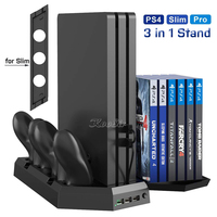 PS4 PRO Cooling Stand for Playstation 4 SLIM PRO Cooler Gamepad Charger with 12 Game Disks Bracket for Sony Play Station 4 Games