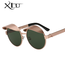 XIU Caps Style Round Sunglasses Men Women Brand Designer Vintage Sunglass Steampunk Metal Top Quality Vintage Oculos UV400