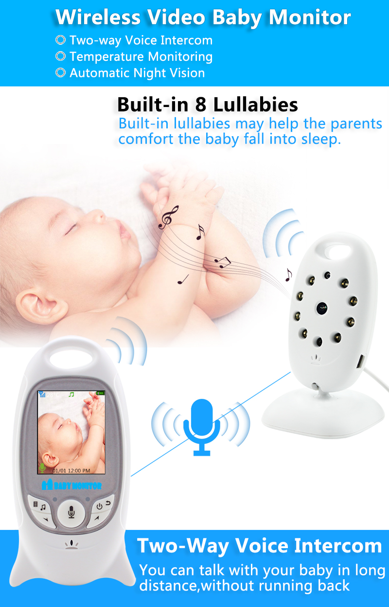 Wireless Video Baby Monitor with 2 Inches LCD Two Way Audio Talk Night Vision - VB601 8