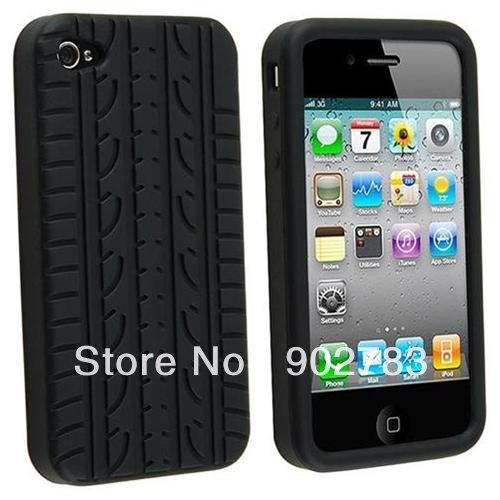 Free Shipping Tyre Pattern Soft Silicone Case Skin Cover For Iphone 4G 4S, Cell Phone Case For Iphone 4 4TH 4G