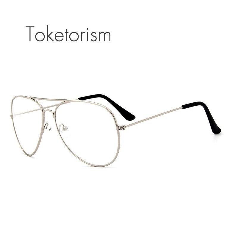 1e10ca026b Toketorism Vintage clásico piloto marco de metal claro lentes gafas para  hombres y mujeres 6203
