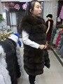 The length of 90CM large shoulder   real fox fur vest,women  fur  vest, fox  fur  coat