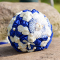 Hot Sale Royal Blue Wedding Flowers Bridal Satin Bouquets Crystals For Bouquets Pearls Shell Beach Handmade Holding Flowers 2017