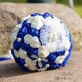 Venda quente Azul Royal Shell Pérolas Cristais Para Buquês Buquês de Flores Do Casamento de Noiva de Cetim Praia Feitos À Mão Segurando Flores 2017
