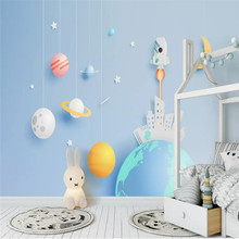 Cartoon spaceship childrens room background professional production mural factory wholesale wallpaper poster photo wall