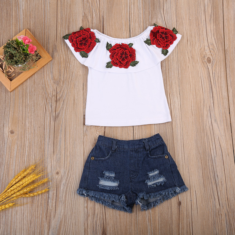 New Fashion Baby Girls Clothing Set Kids White Rose Printed Top with Shorts Casual Children Clothes