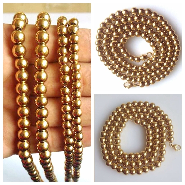 18inch-36inch 316L Stainless Steel high quality ball Chain Necklace Gold for men Boy Christmas Gift free shipping 6mm$8mm