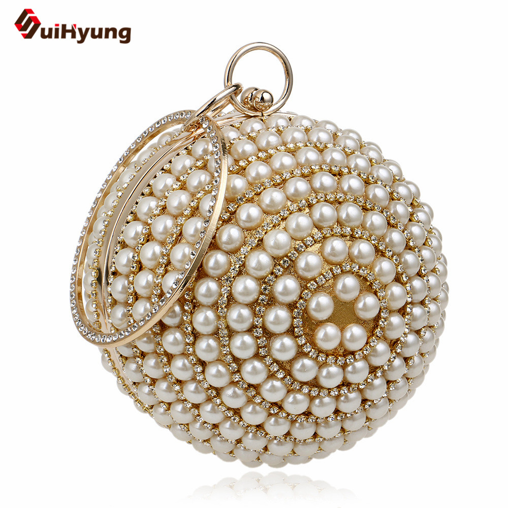New Fashion Women Pearls Handbags Bling Diamond Beaded Wedding Party Evening Bags Ladies Chain Shoulder Bags Small Totes Purse