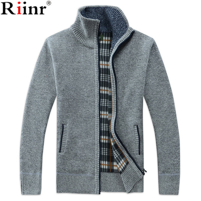 Riinr Autumn Winter Men's SweaterCoat Faux Fur Wool Sweater Jackets Men Zipper Knitted Thick Coat Casual Knitwear M-3XL