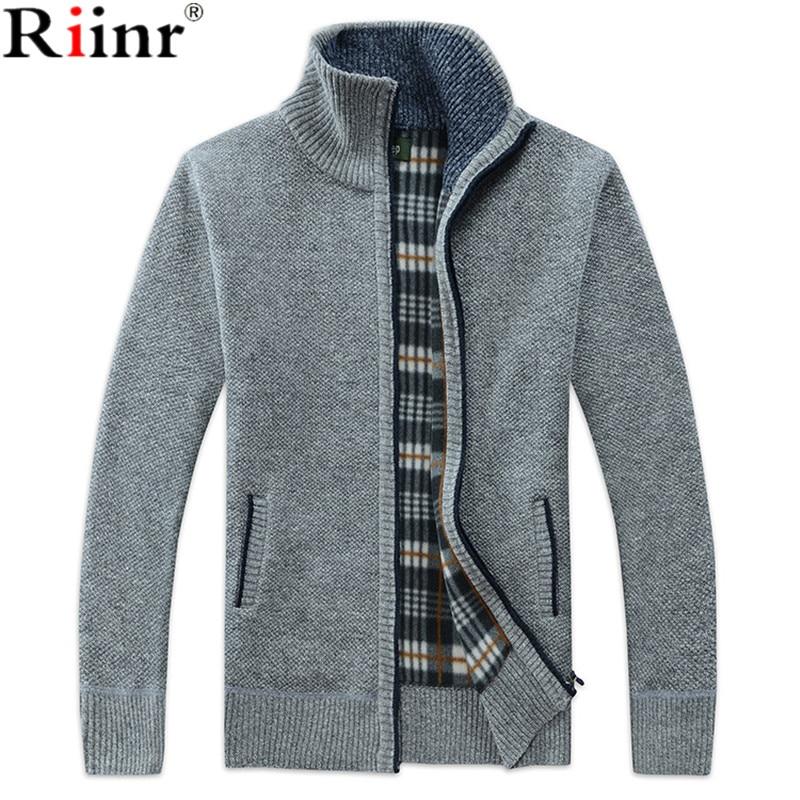 Riinr Autumn Winter Men's SweaterCoat Faux Fur Wool Sweater Jackets Men Zipper Knitted Thick Coat Casual Knitwear M-3XL