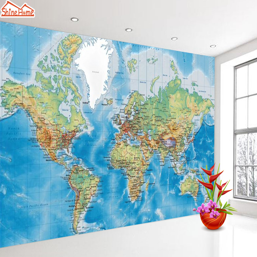 Embossed 3d Photo Mural Wallpapers For Living Room Bedroom Murals Porch World Map Wall Papers Home Decor TV Wallpaper Background